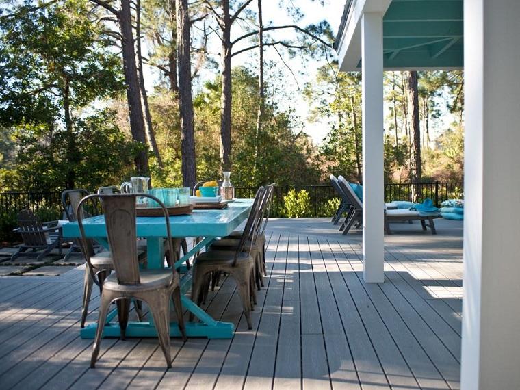 jardin suelo madera mesa comidas azul moderno ideas