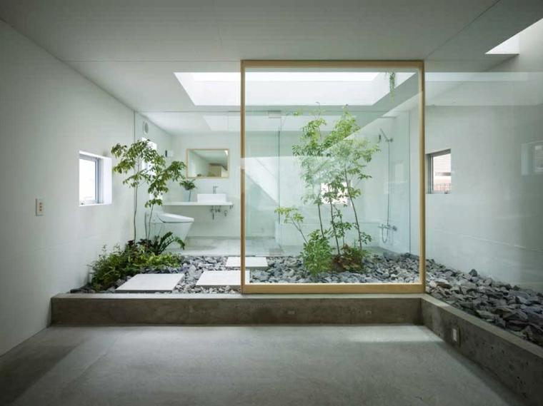 jardin zen baño moderno piedras