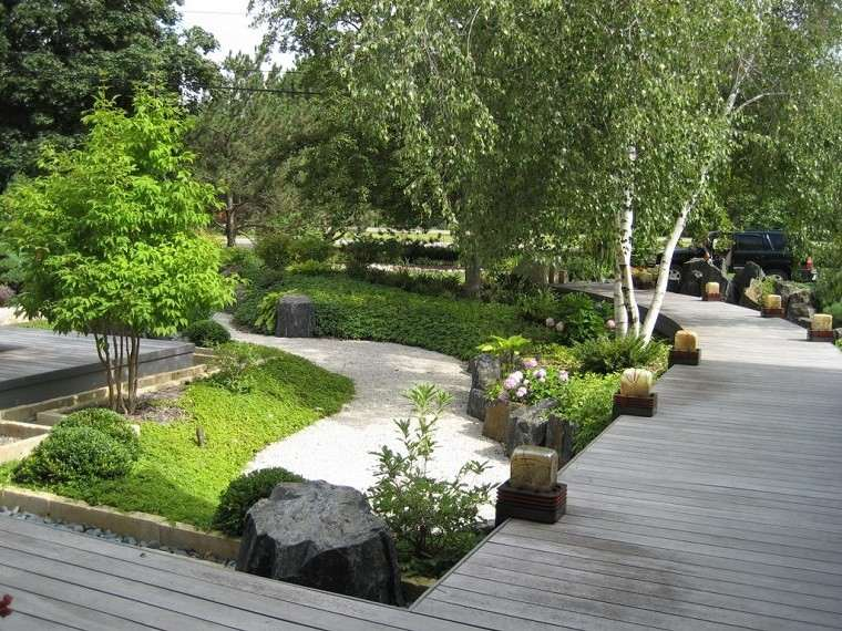 jardin zen plataforma madera teca