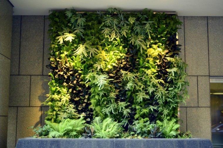 jardines diseño vertical iluminacion helechos proyectores