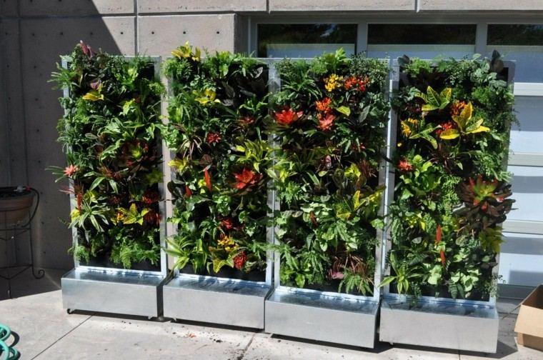 jardines diseño vertical metal base colorido