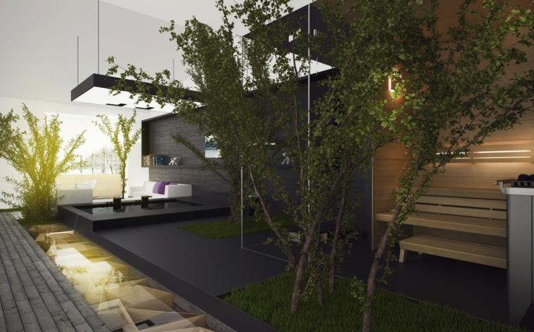 jardines modernos interiores diseño futurista