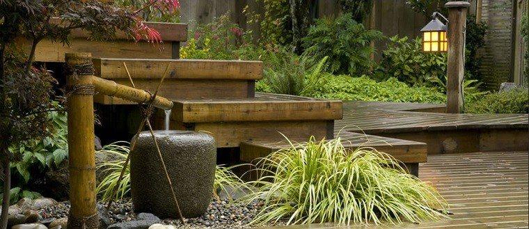 jardines zen fuentes bambu