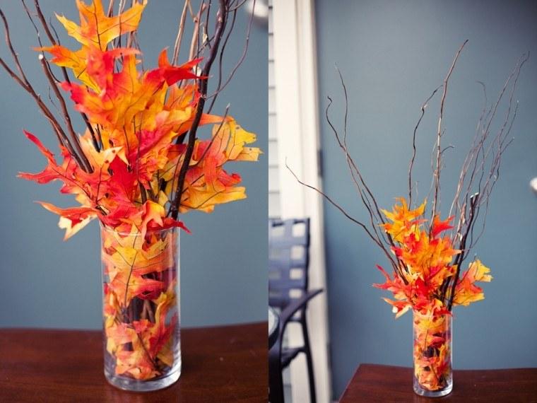 jarron cristal transparente hojas secas decoraciones otono ideas