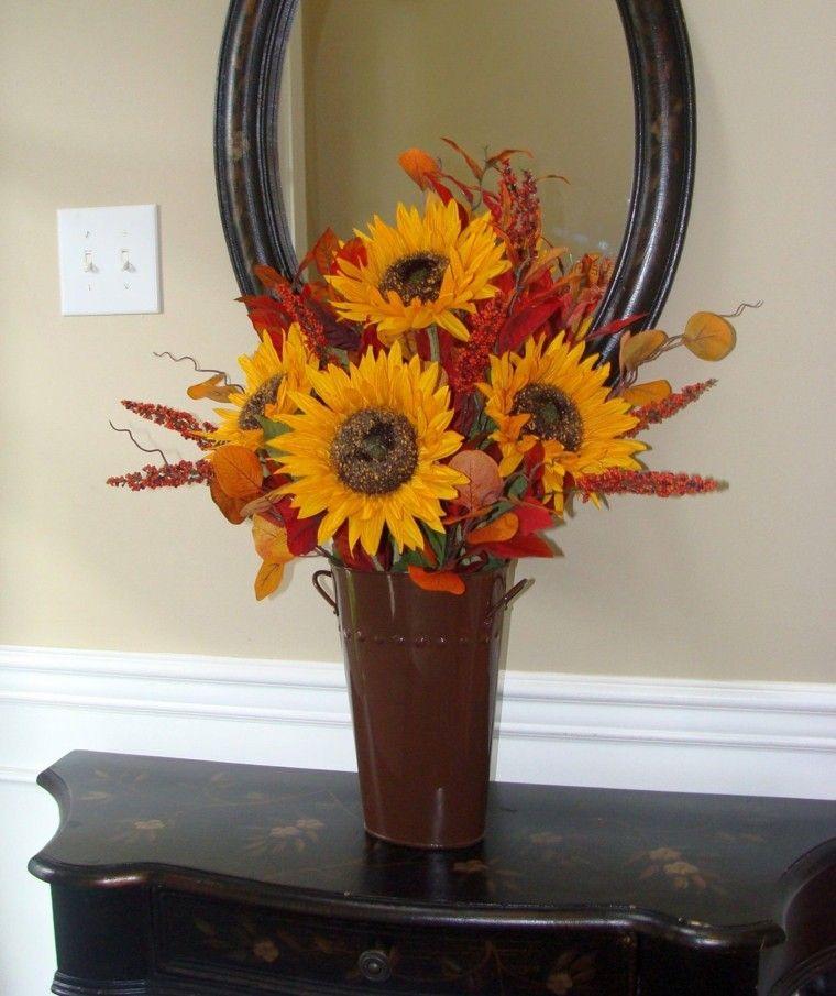 jarron grande flores  colores otoño