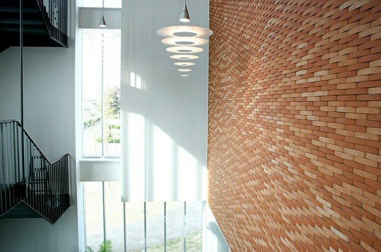ladrillo pequeno pared original casa moderna ideas
