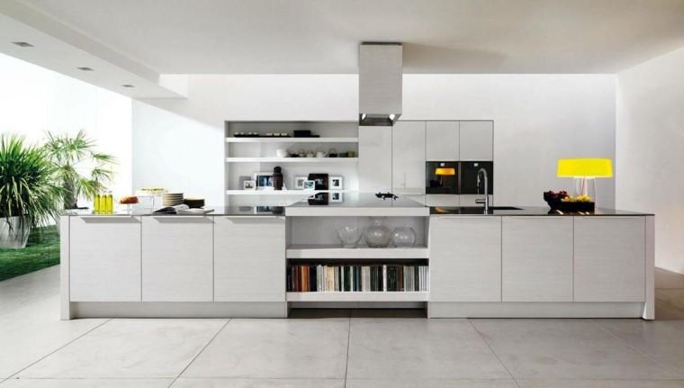 lampara amarilla cocina blanca moderna