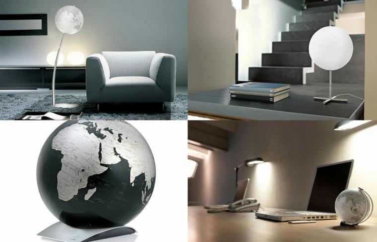 lampara estilo minimalista globo mundo negra ideas