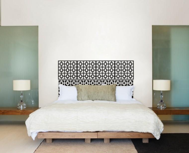 lamparas cristal cama madera dormitorio ideas