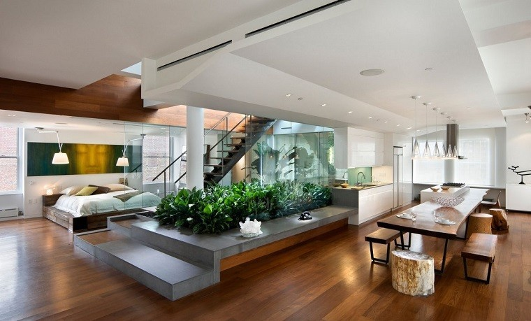 las plantas jardinera interior madera