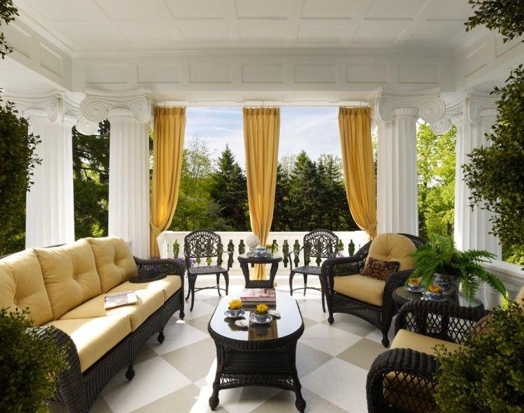 las plantas terraza mobiliario cortinas