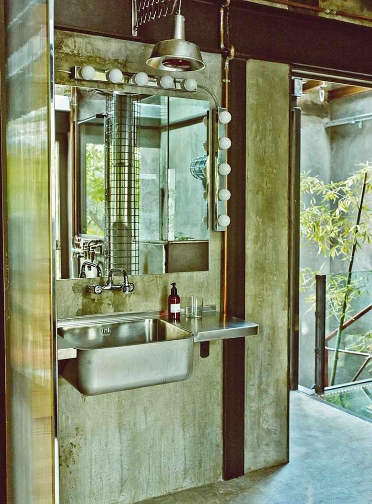 lavabo bano muebles estilo industrial acero ideas