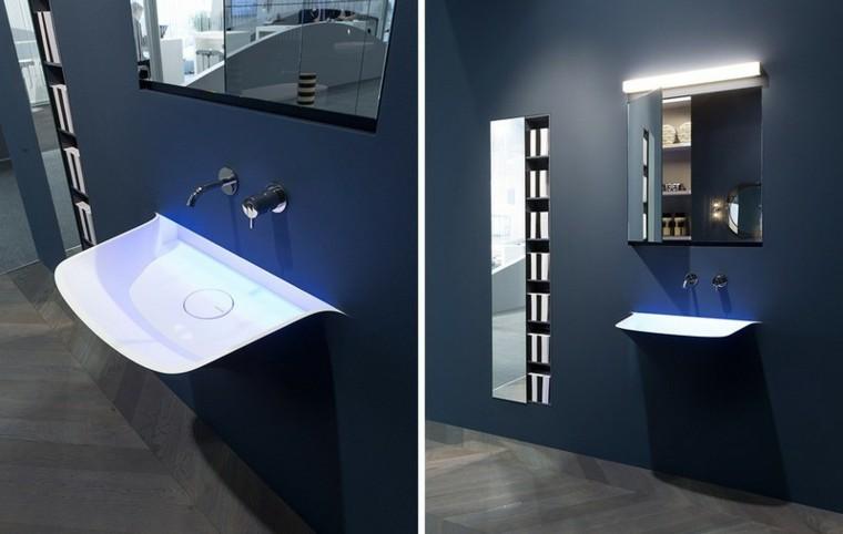 lavabo integrado pared color azul marino
