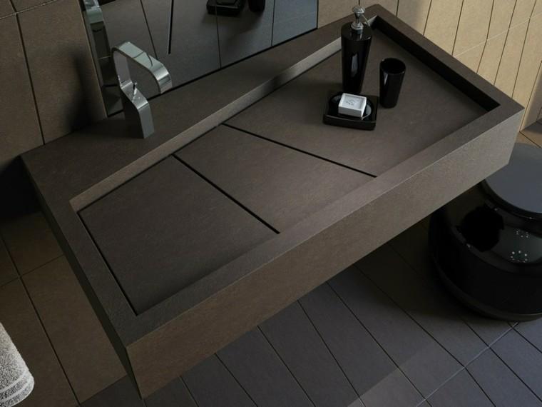 Muebles Para Baño Recubre:lavabo de color marron de forma rectangular