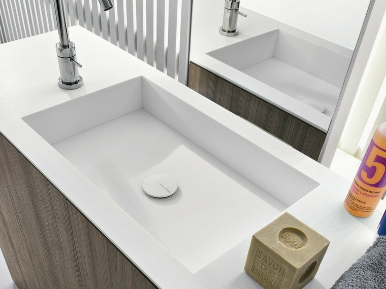 lavabo moderno ceramica blanca madera