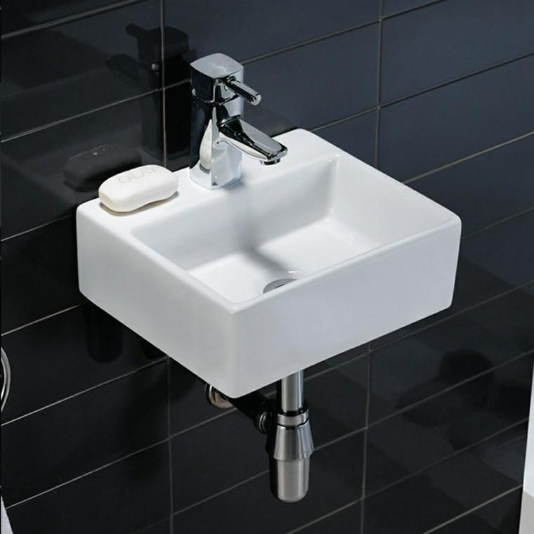 lavabo pequeño forma cuadrada suspendido