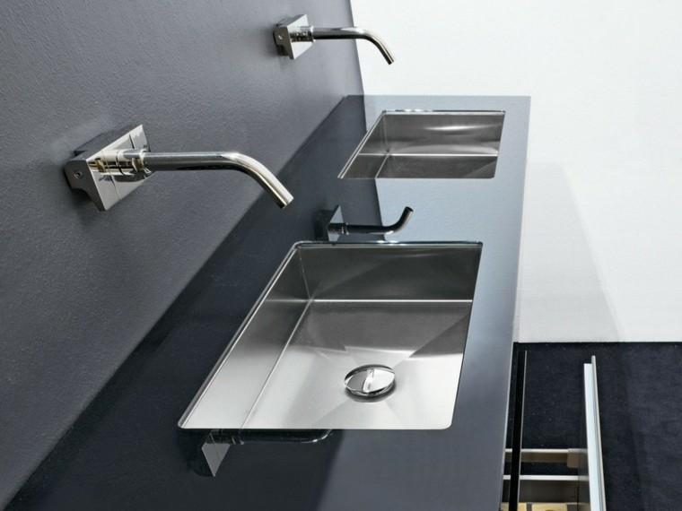 lavabos modernos diseño acero grifos