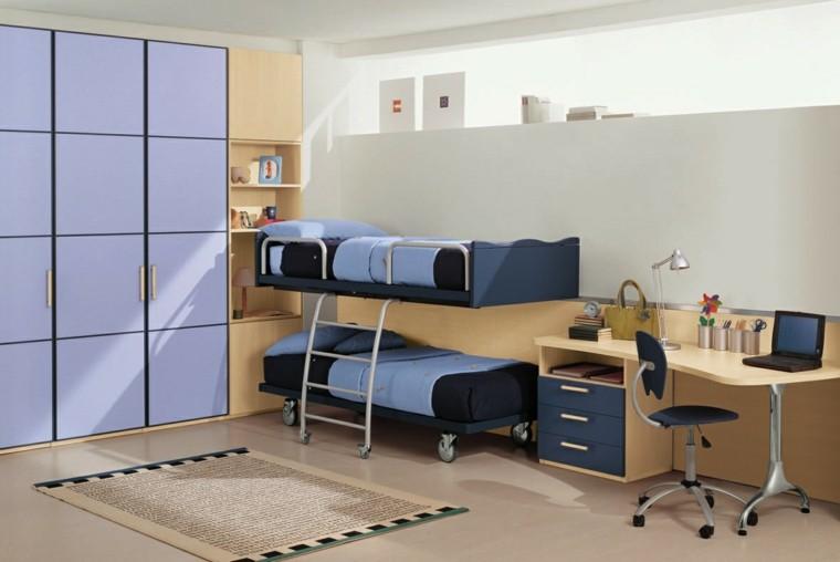 litera azul afombra sillas armario
