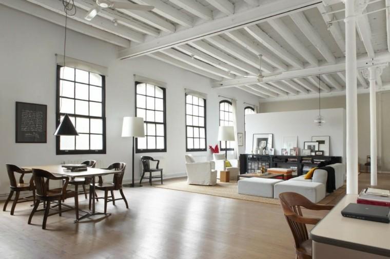 loft diseno moderno amplio muebles blancos ideas