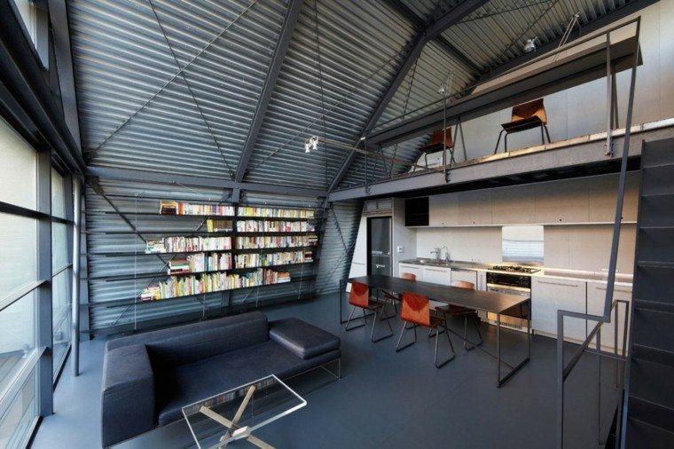 loft diseno moderno estanterias sofa negras ideas