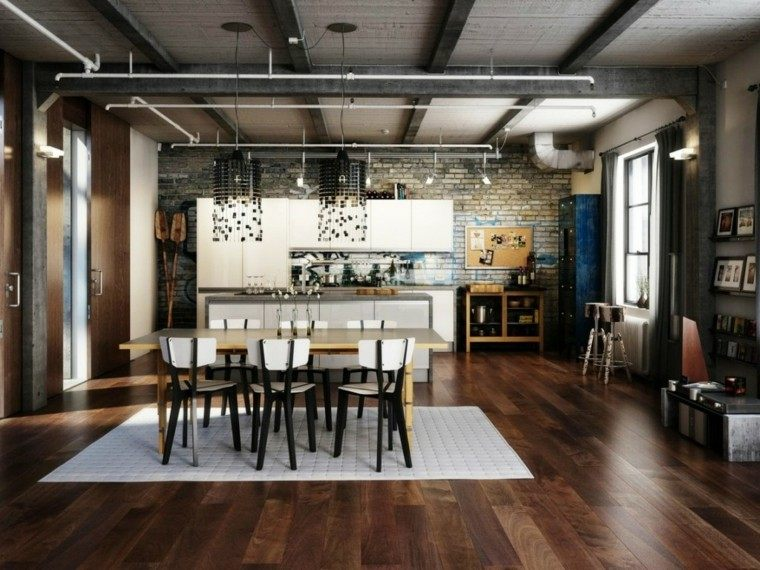 loft estilo industrial alfombra blanca ideas