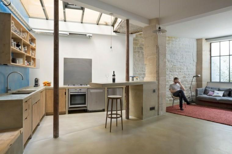 loft estilo minimalista cocina taburete alto ideas