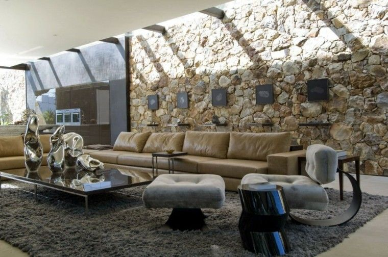 loft precioso pared piedra sofa cuero sillon diseno ideas
