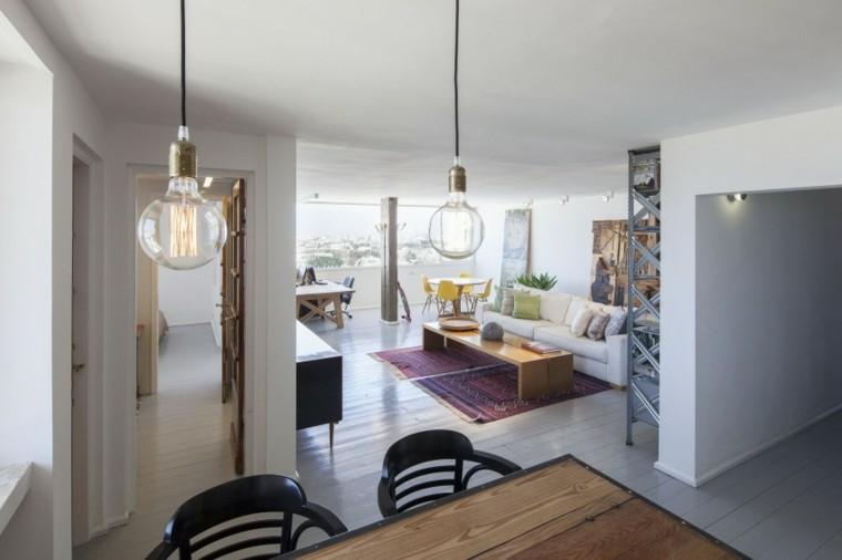 loft sofa blanca mesa baja madera balcon ideas