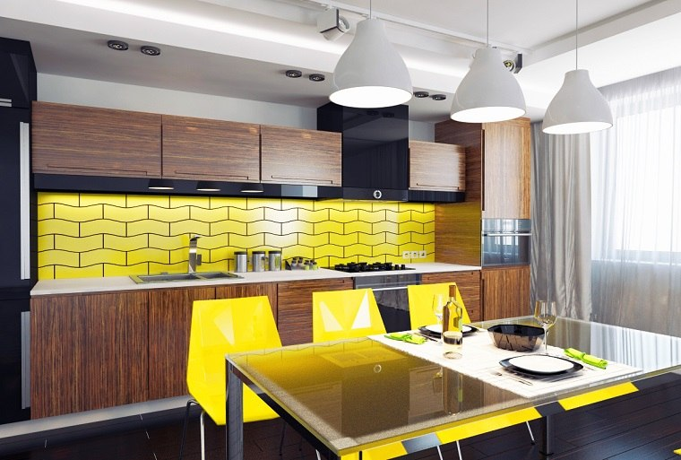 losas-amarillas-cocina-diseno-brillante