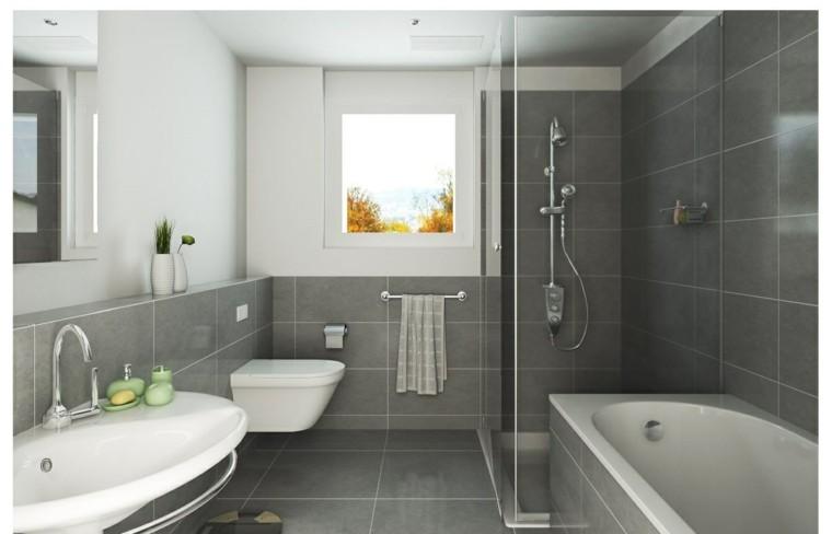 losas grises bano banera lavabo blanco jarrones decorativos ideas