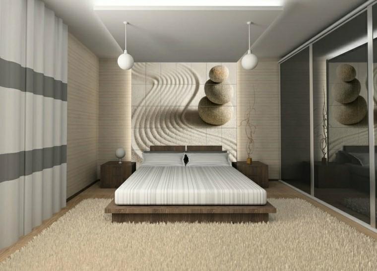 losas piedra color blanco pared dormitorio ideas