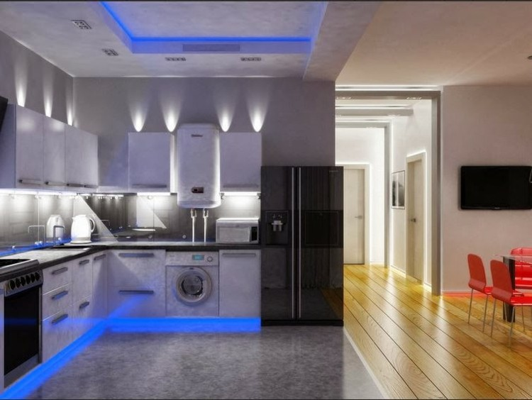 cocina luces led color azul