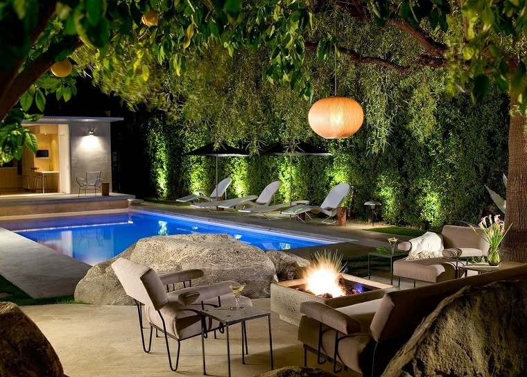 lugar fuego piscina terraza plantas ideas