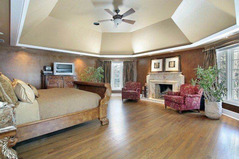 macetas grandes cama madera dormitorio moderno ideas