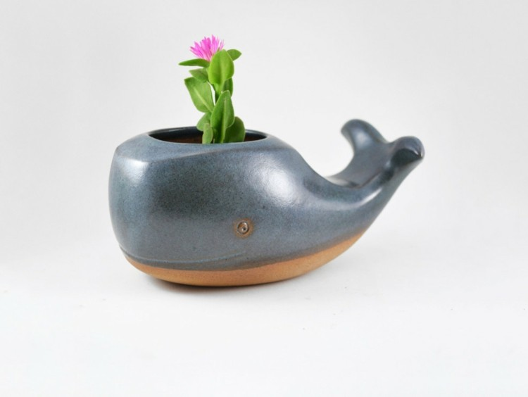 maceteros pequeños forma ballena flor