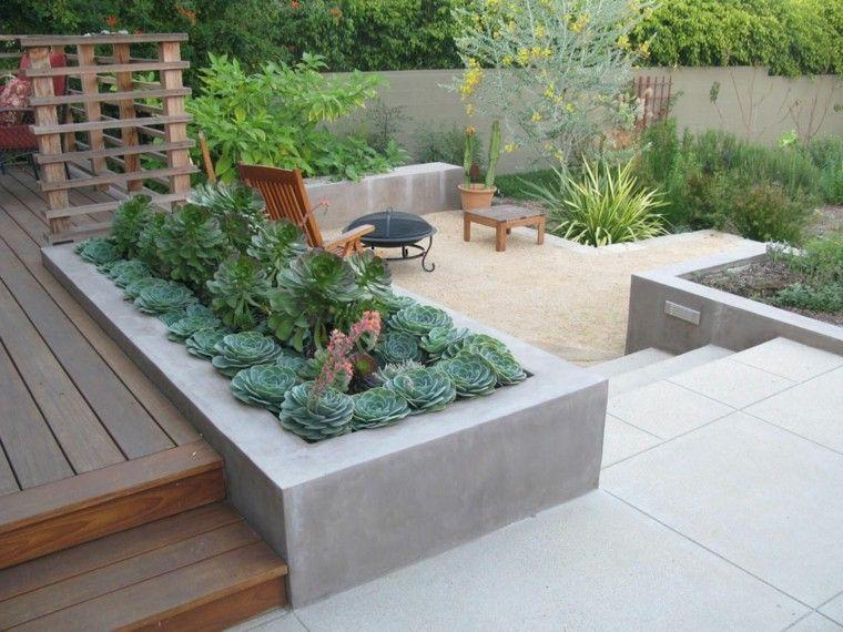 madera concreto jardineras suculentas hormigon