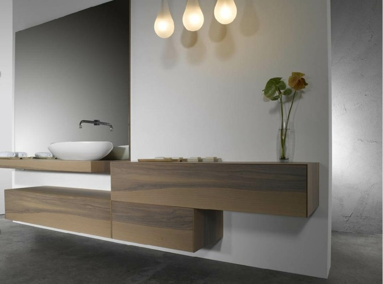 madera estante amplio pared flores luces