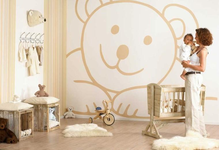 madera juguetes oso carro pared