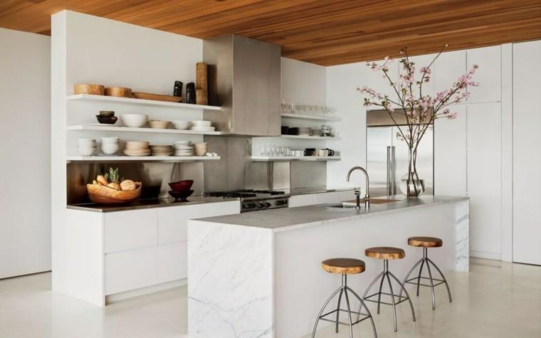 madera marmoñ bella cocina taburetes