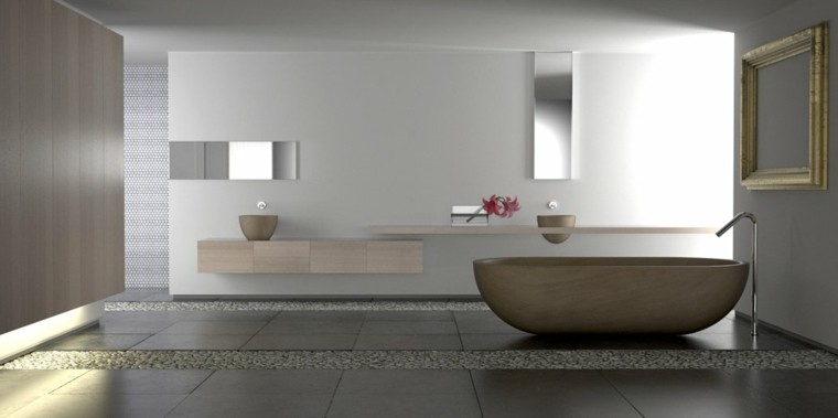 madera minimalista acogedor baño flores