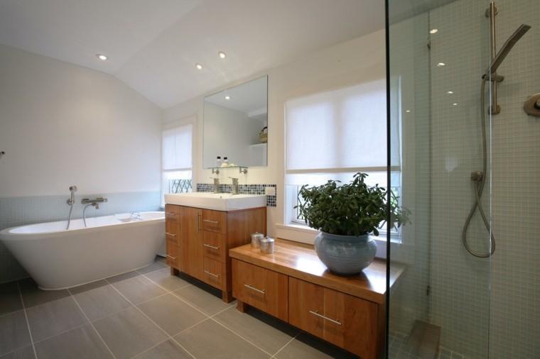 madera muebles bañera amplia natural