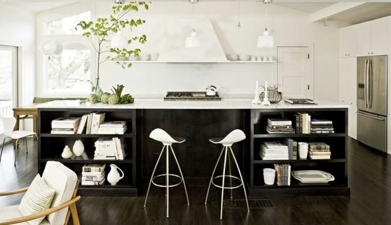 madera negra isla grande cocina moderna ideas