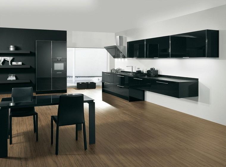 Cocinas blancas y negras 50 ideas geniales a considerar - Cocinas madera clara ...