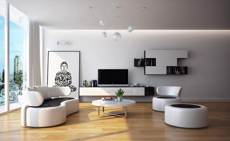 magia blanca muebles pared cuadro grande suelo madera ideas
