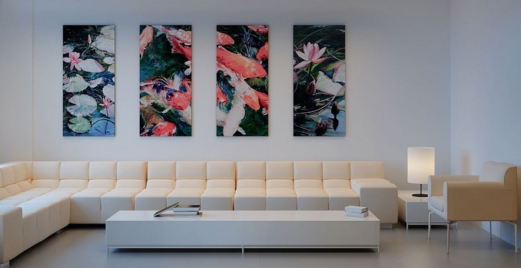 magia blanca sofa grande cuadros pared salon ideas