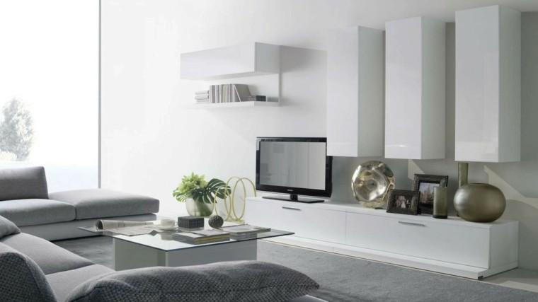 magia blanca televisor sofas mesa cristal ideas