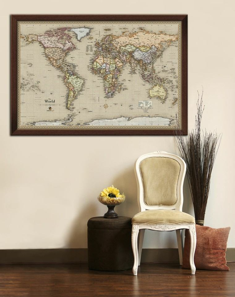 mapa mundo antigua decorando pared ideas