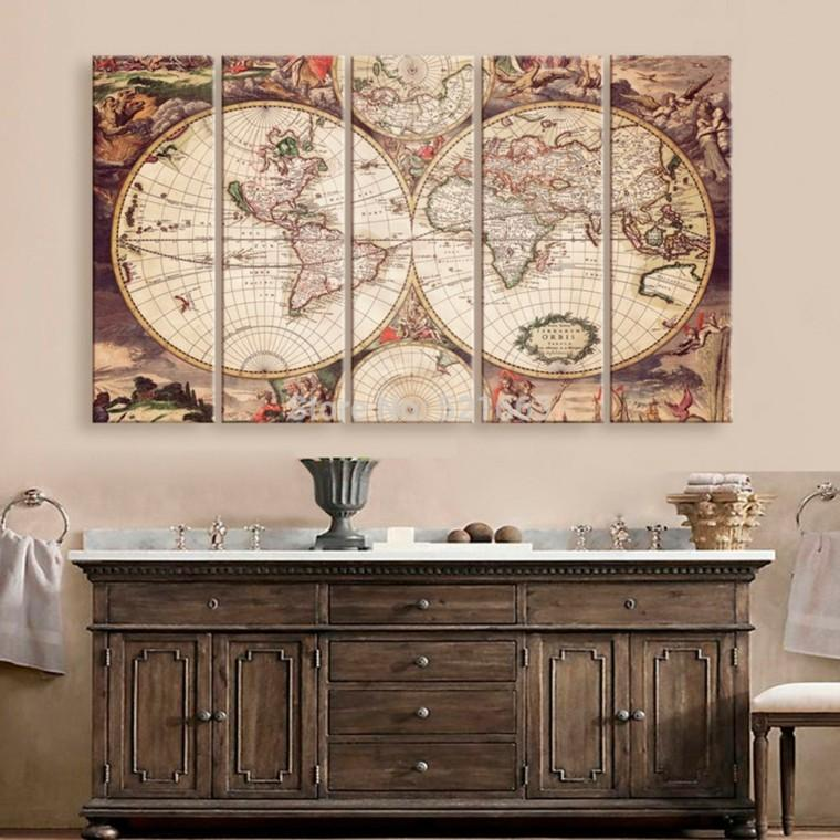 mapa mundo preciosa decorando pared casa ideas