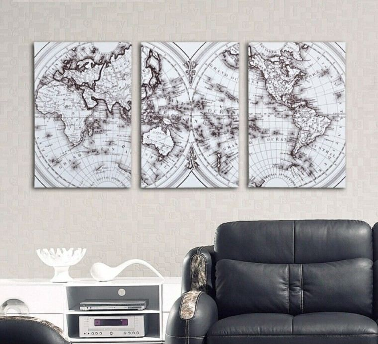 mapas decora pared sillon cuero salon moderno ideas