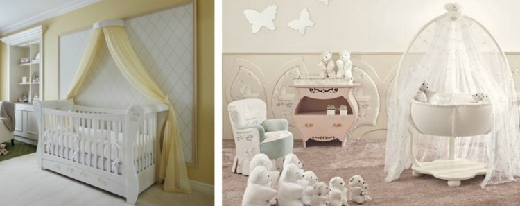 mariposa cortinas cuna blanca elegante